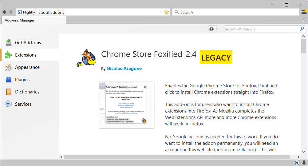 Firefox Nightly marks Legacy Add-ons