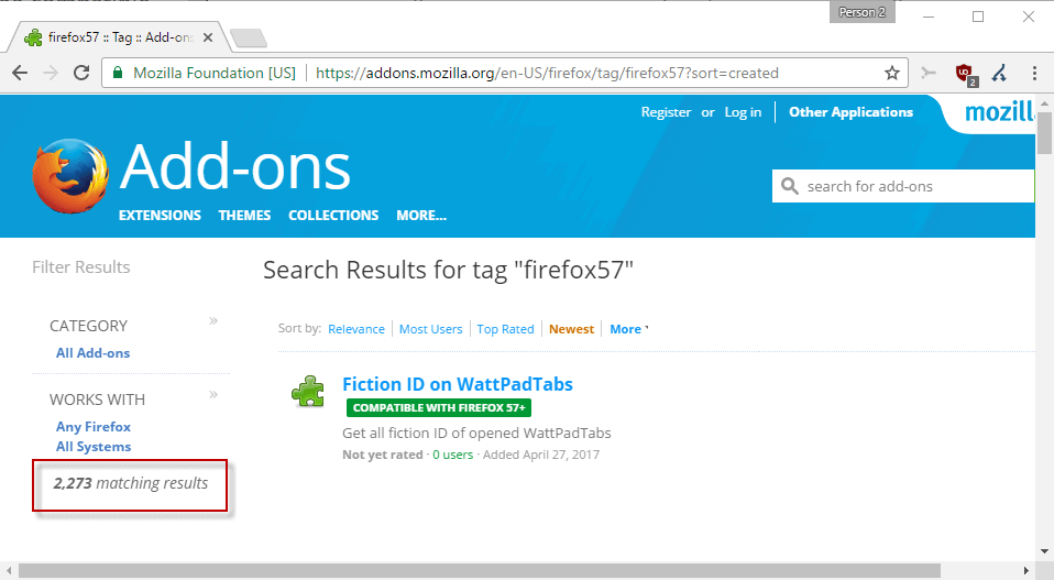 If Firefox 57 would be released today, 2274 add-ons would be compatible