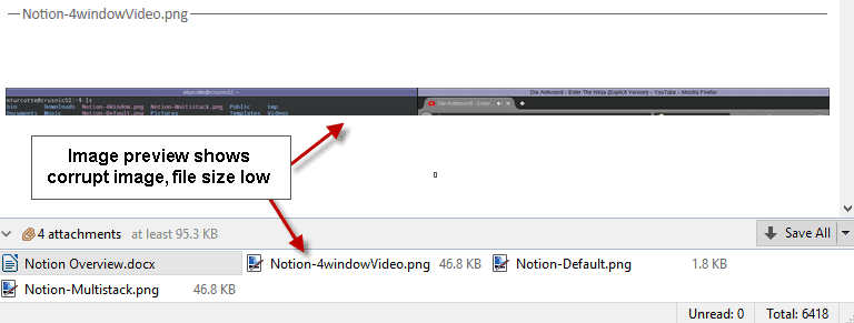 gmail corrupt file attachment