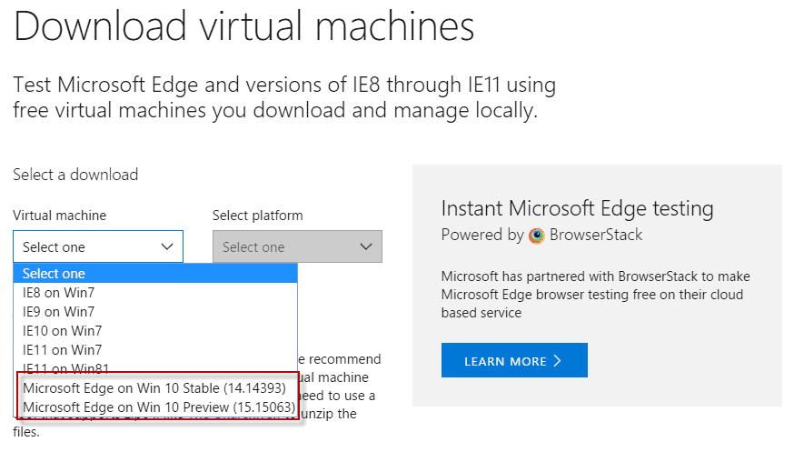 microsoft edge virtual machine