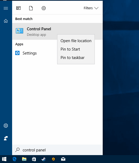 pin-control-panel How to open the Control Panel in the Windows 10 Creators Update