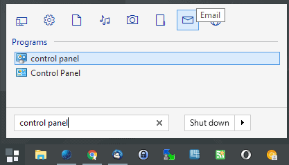 start menu control panel
