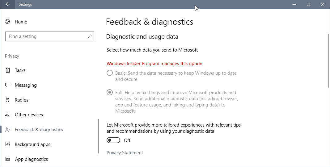 Windows 10 Full and Basic Telemetry Data collection information