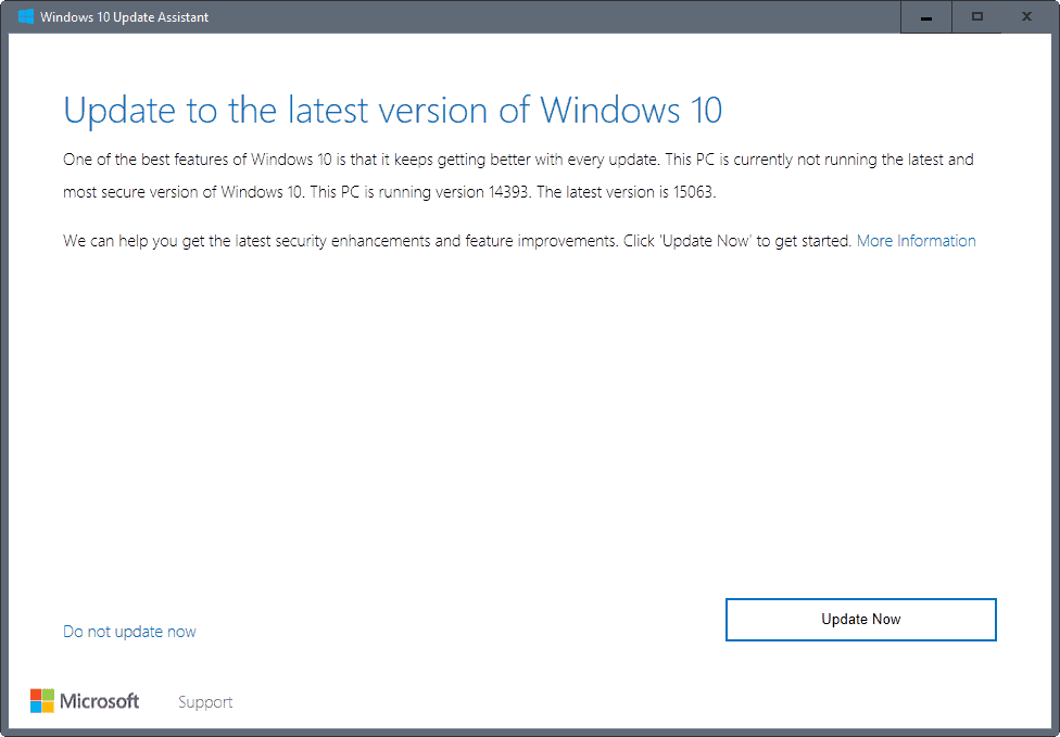 update to latest version of windows 10