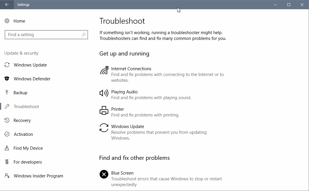 Windows 10 Creators Update: Unified Troubleshooting Page