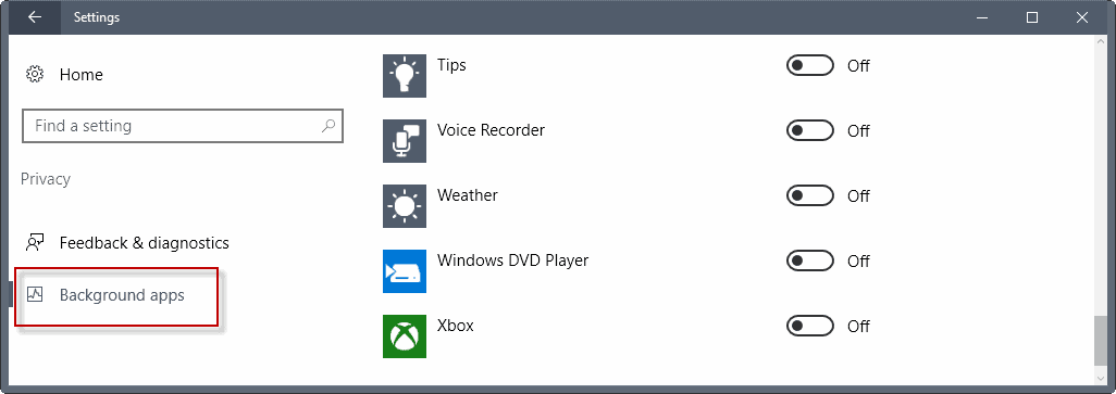 windows background apps