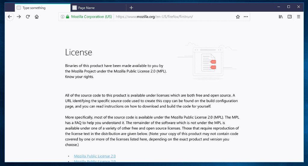 about:license firefox 57