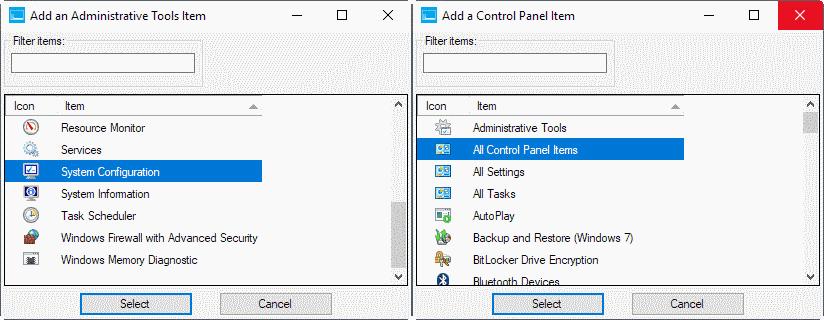 add items windows-x menu