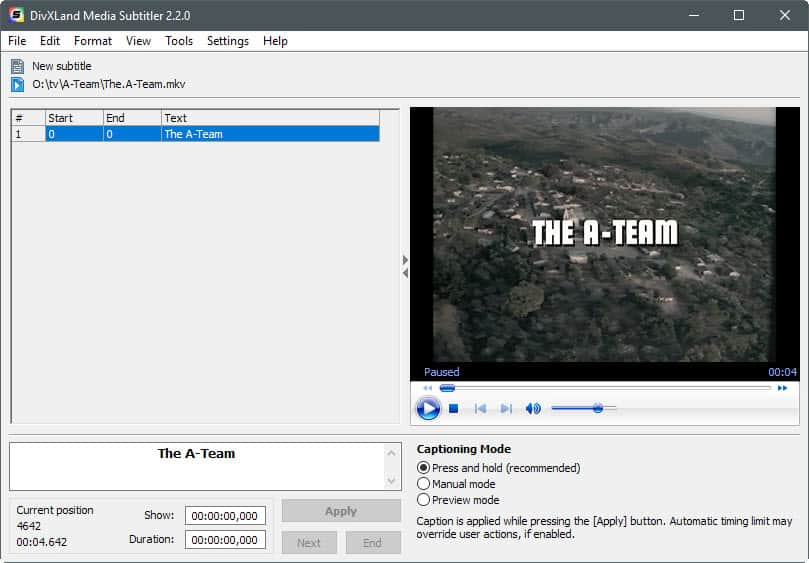 Create or add subtitles to video files with Media Subtitler