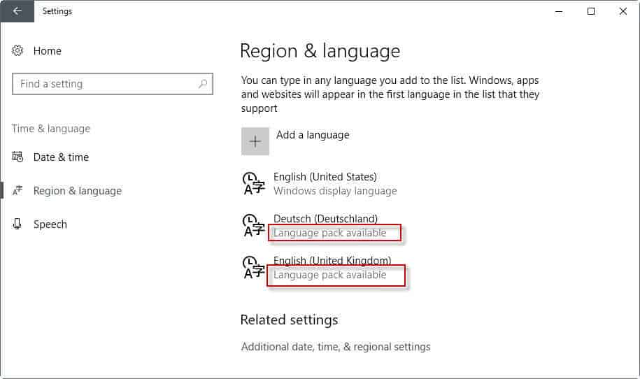 language pack available