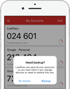 lastpass authenticator cloud backup
