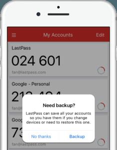 lastpass authenticator cloud backup