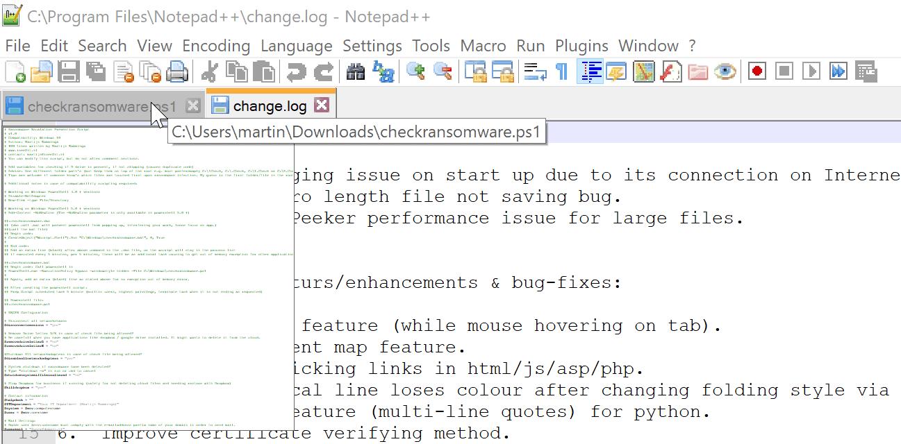 notepad document peek