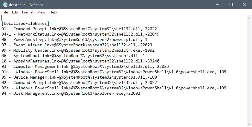 rename windows-x menu