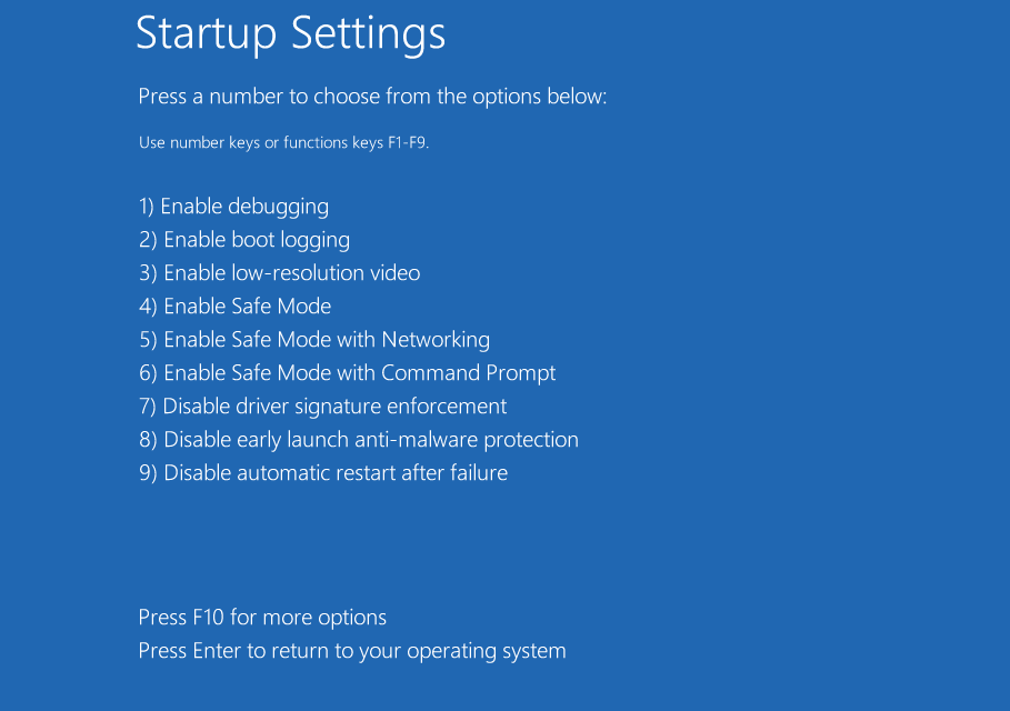 startup settings safe boot windows 10