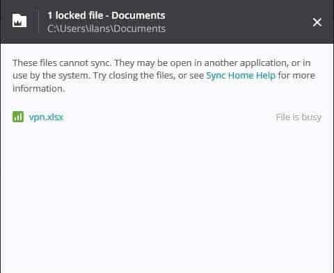 sync 2.5 locked files