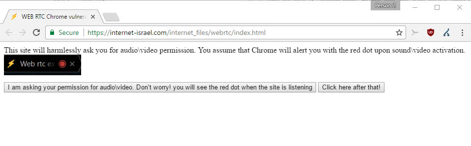 Chrome: sites may record audio/video without indication