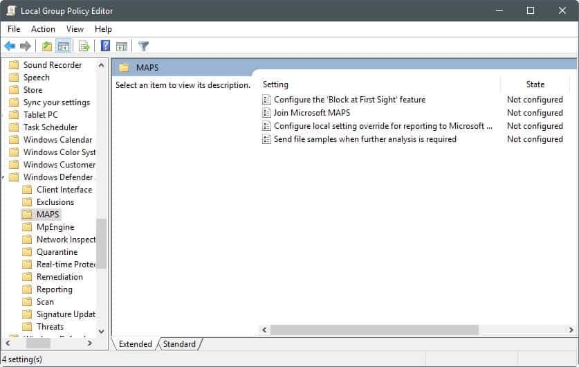 windows defender antivirus maps