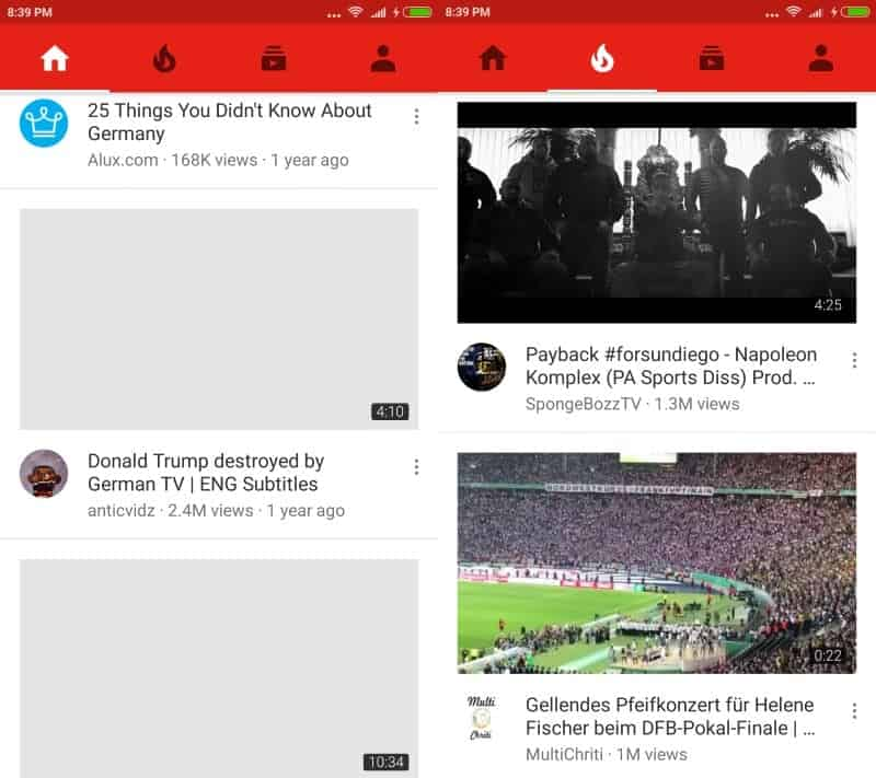 youtube android old layout