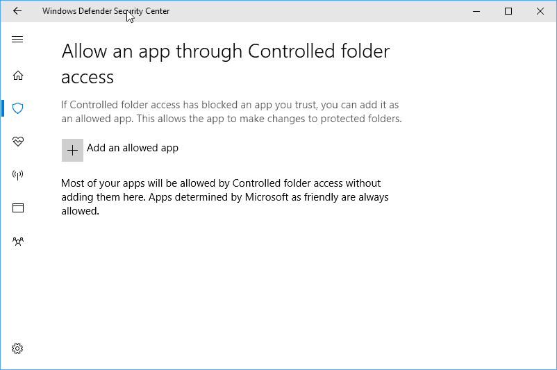 allow apps controlled folders