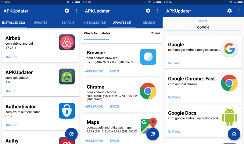 APKUpdater update brings support for Google Play updates