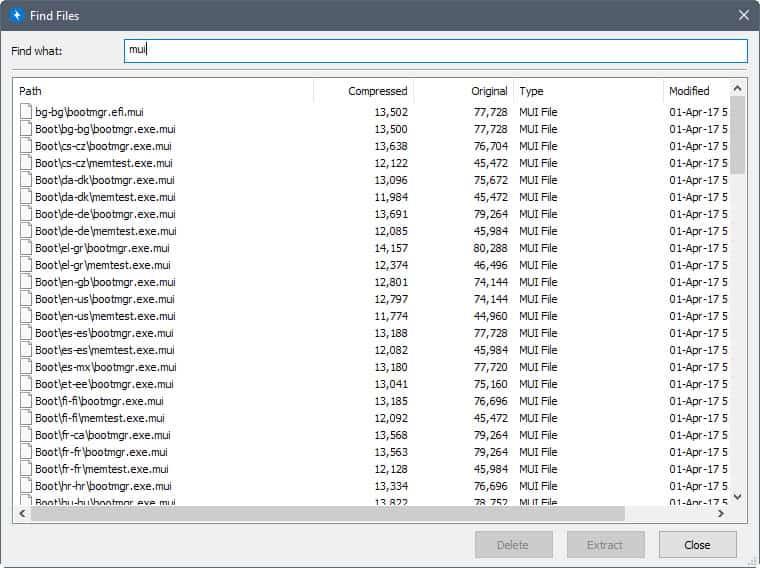 bandizip find files