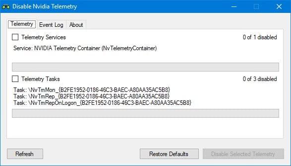 disable nvidia telemetry