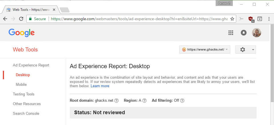 google ad status block chrome