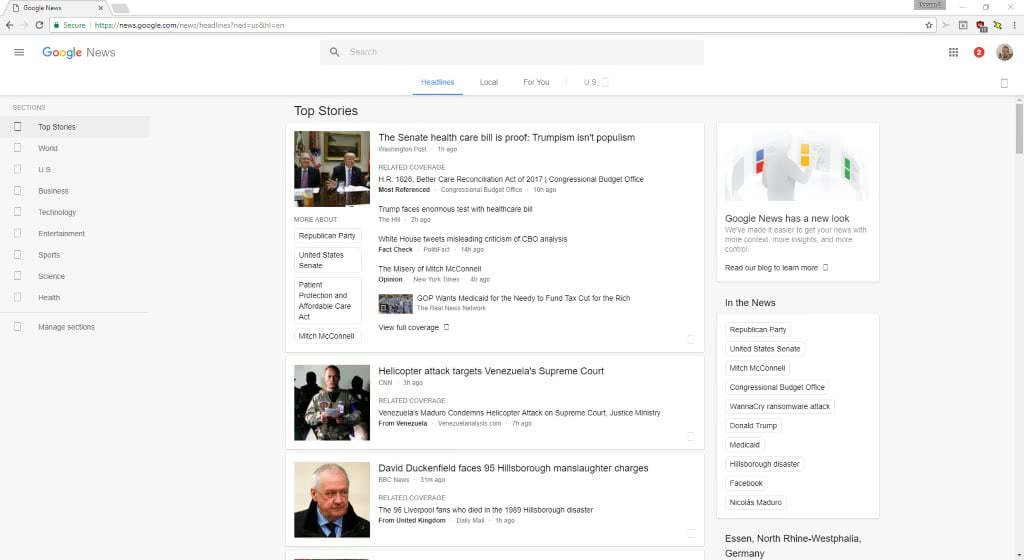 Google News redesign: whitespace and scrolling galore on desktop