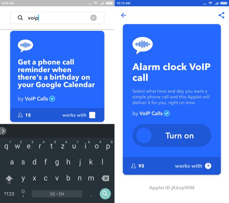 ifttt voip calls