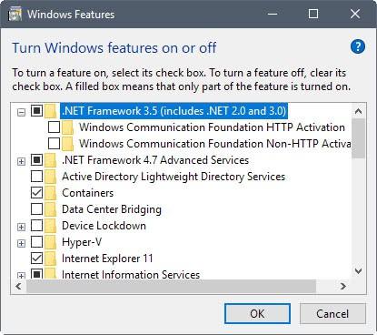 install net framework windows 10