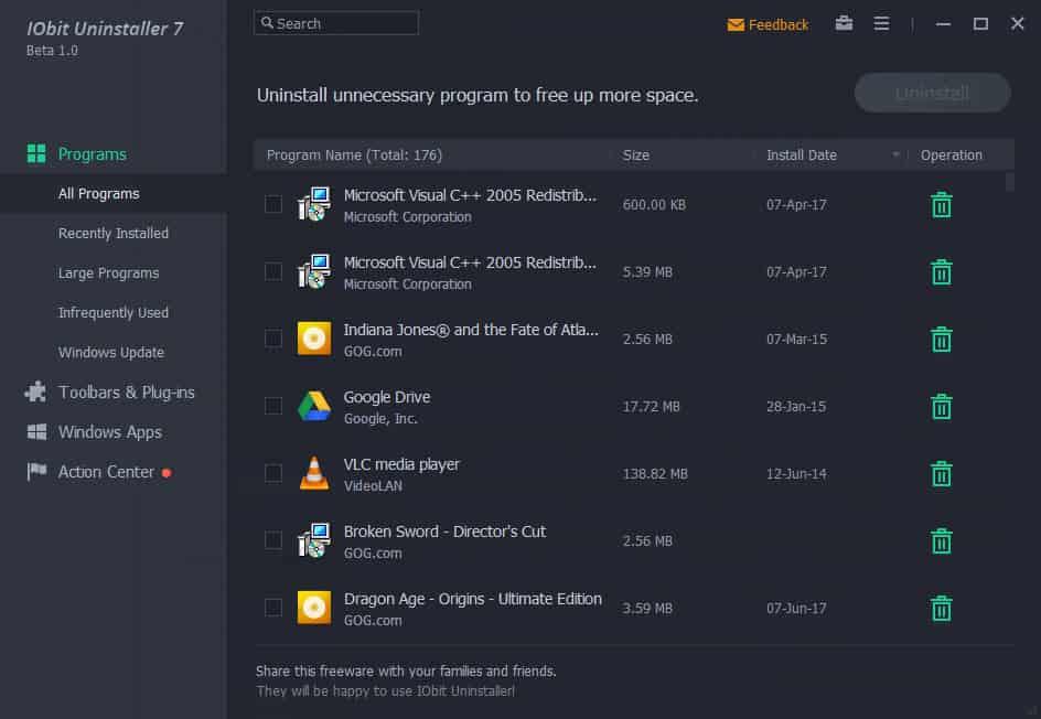 iobit uninstaller 7 interface