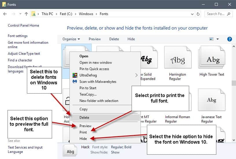 manage fonts windows 10