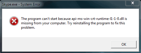 Fix The program can't start because api-ms-win-crt-runtime