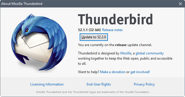 thunderbird 52.2.0