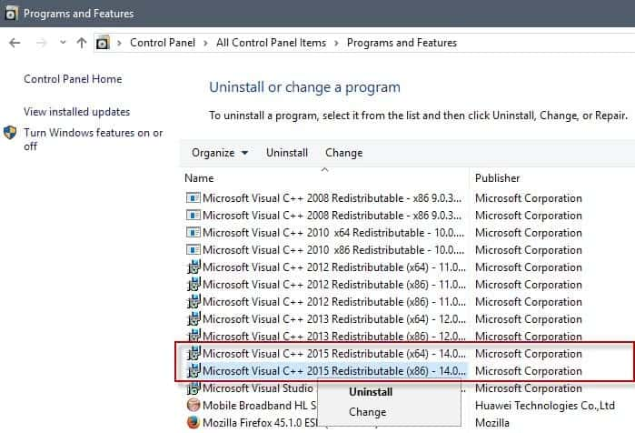 uninstall-microsoft visual c++ 2015 redistributable