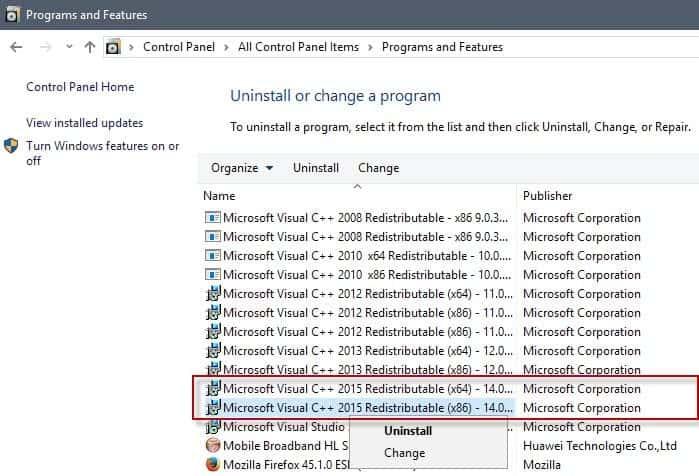 uninstall-microsoft visual c++ 2015 redistributable