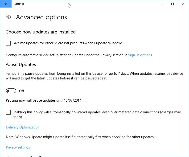 Windows 10 Fall Creators Update Limit Windows Update bandwidth