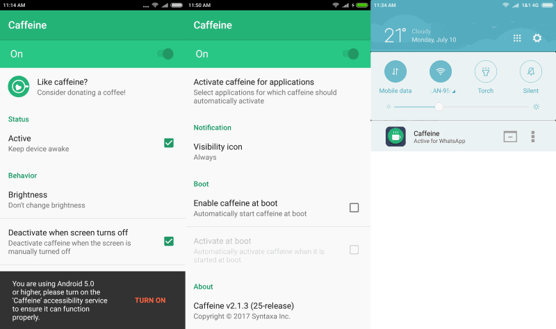 caffeine android prevent sleep