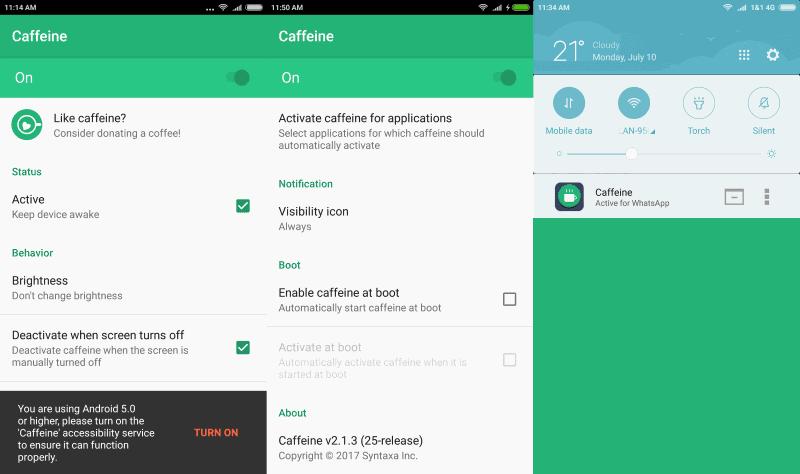 caffeine android prevent sleep