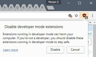 Hide Chrome's Disable developer mode extensions warning