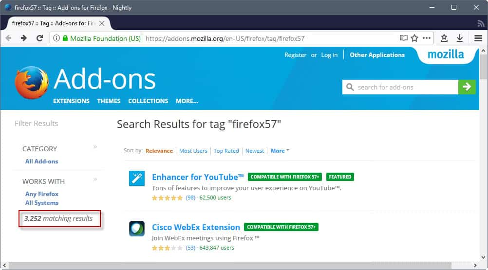 firefox 57 compatible addons