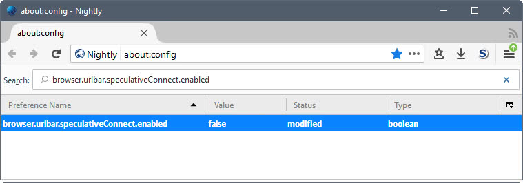 firefox browser urlbar speculativeconnect enabled