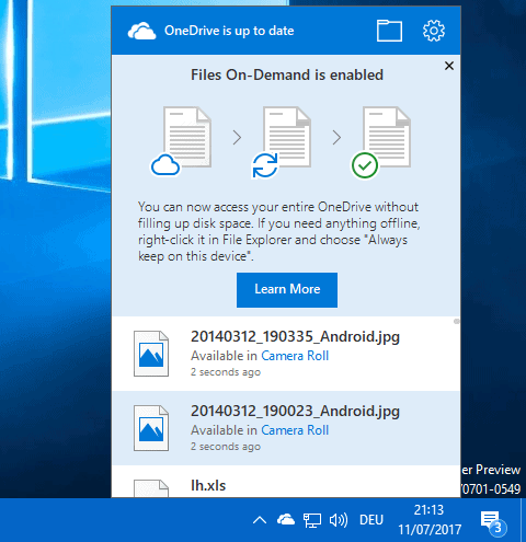 onedrive files on demand popup