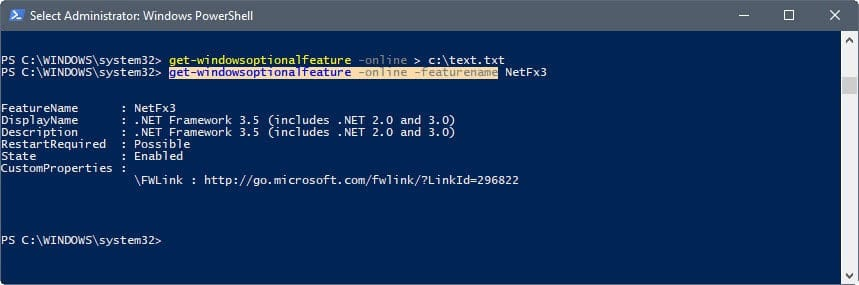 powershell-display information about features