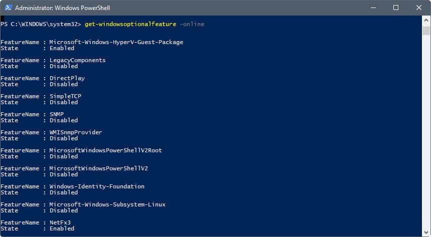 Use Windows PowerShell to install optional features - gHacks