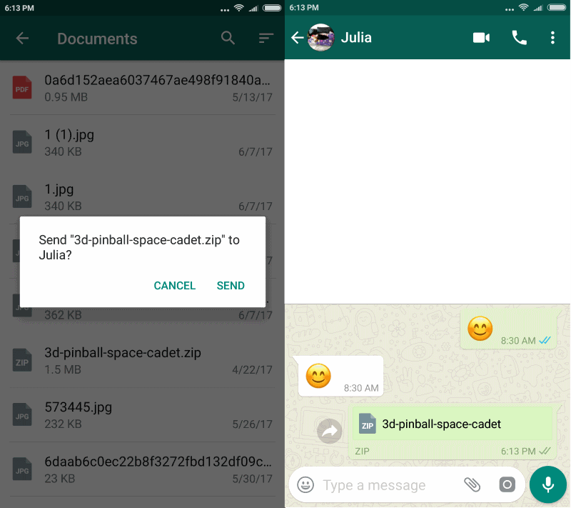 Send any file with WhatsApp