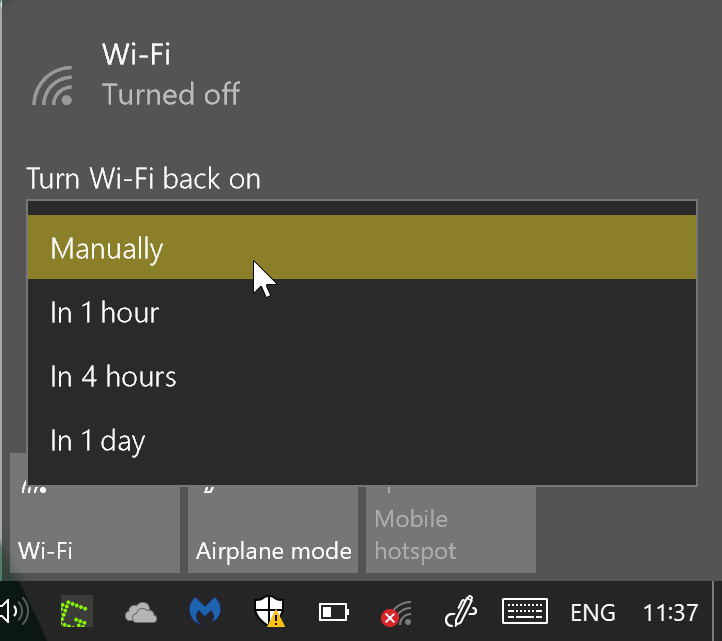 Turn Wi-Fi back on automatically on Windows 10