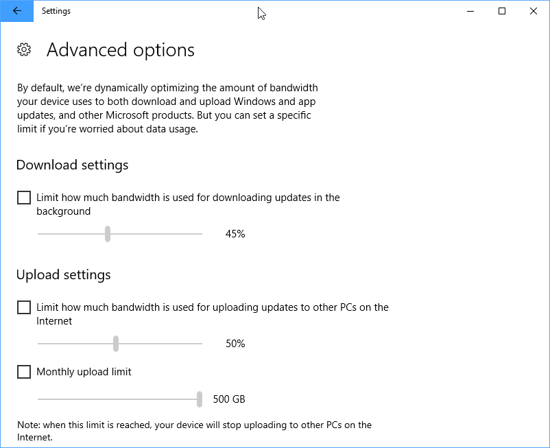Windows 10 Fall Creators Update: Limit Windows Update bandwidth