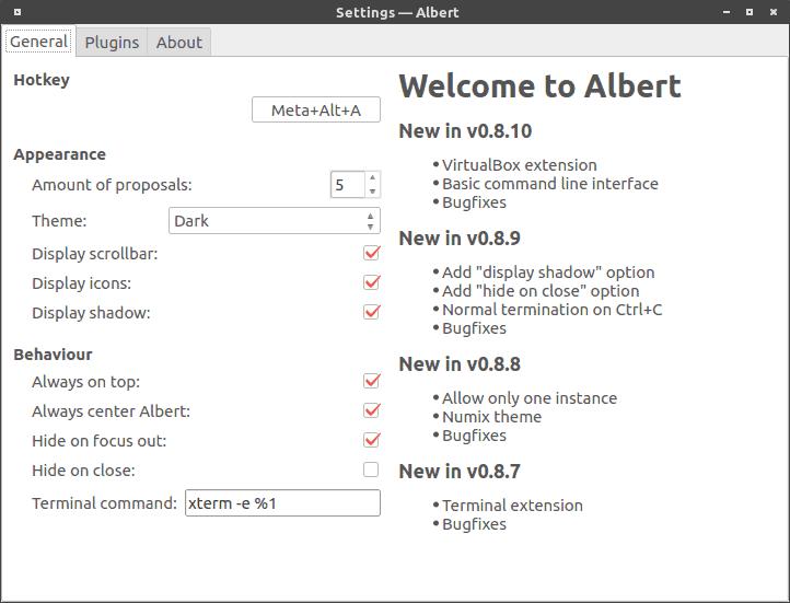 Albert Settings